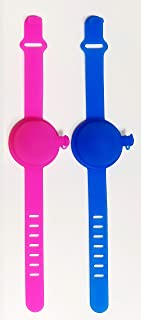 Hand sanitizer wristband dispenser with a 30 ml spray bottle - 2 pcs a Set (Blue & Pink)