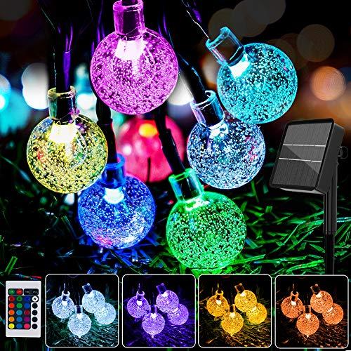 Cadena de luces LED solares para exteriores, 10 m, multicolor, con mando a distancia, resistente al agua, cambio de color, para jardín, árboles, terraza, balcón, bodas