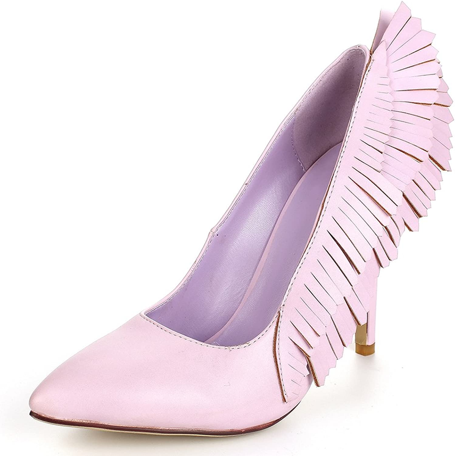 A-BUYBEA Women's Pointed Toe Fashion High Heel Leather Wings Dress Pump shoes