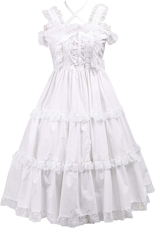 Antaina White Cotton Ruffle Lace Halter Classic Victorian Lolita Cosplay Dress