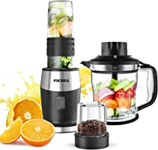 High-Speed Personal Blender for Smoothies and Shakes, FOCHEA 700-Watt 5-in-1 Mixer for Blender/Chopper/Grinder/Food Processor/Ice Crusher With 20 oz. Travel Cup & 51oz. Pitcher & 10 oz. Cup, BPA-Free