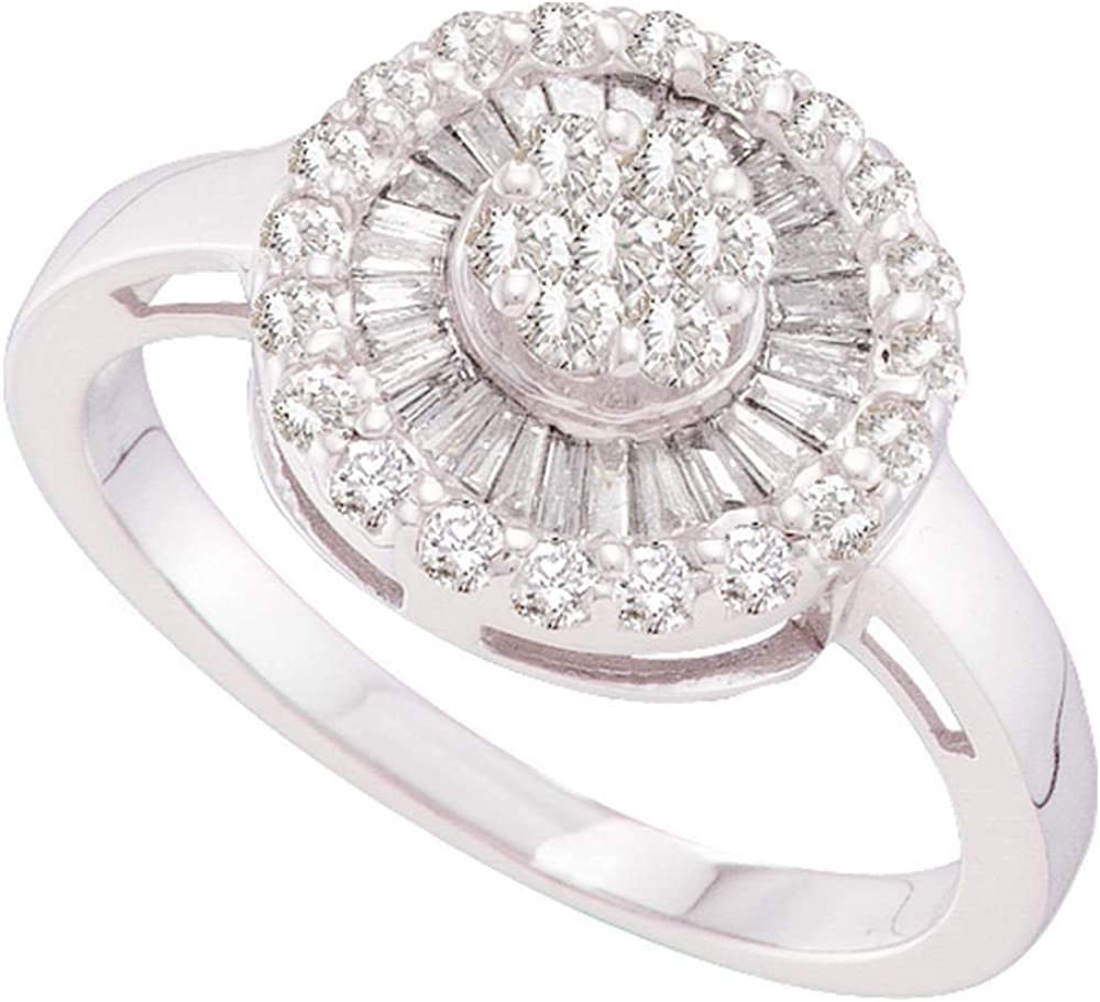 Solid 14k Now on sale White Gold Selling and selling Round Engagement Flower Cluster Wed Diamond