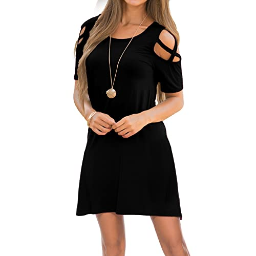 31468abc1f4 OYANUS Womens Dresses Summer Strappy Cold Shoulder Swing T-Shirt Loose Dress  with Pockets
