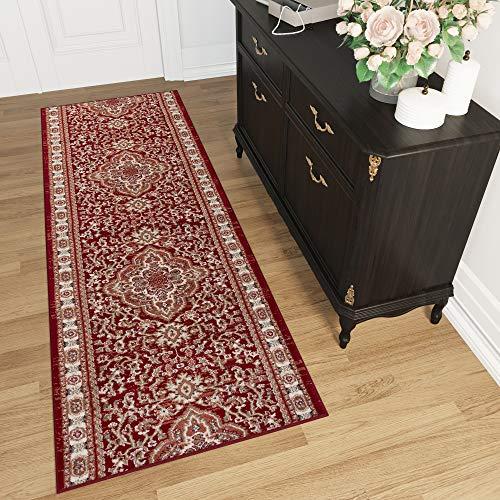 TAPISO Colorado Tappeto Passatoia Corridoio Classico Salotto Entrata Rosso Intenso Floreale Orientale Tradizionale A Pelo Corto 70 x 300 cm