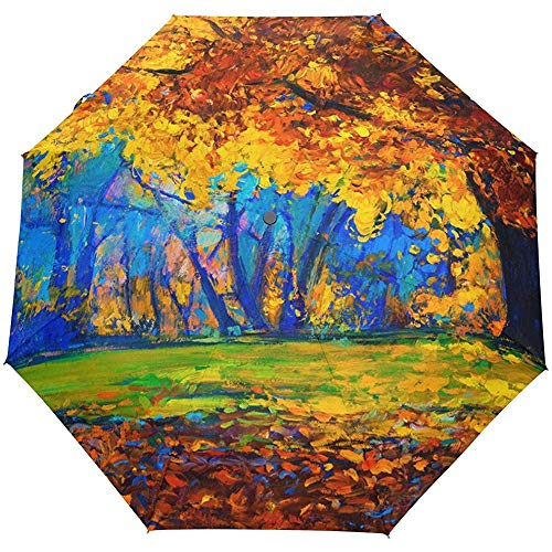 Pintura al óleo de la Vendimia Árboles de Arce Otoño Otoño Auto Abrir Cerrar Paraguas Anti UV Plegable Paraguas automático Compacto