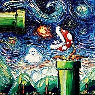 Starry Night Piranha Plant Wall Art Print Video Game Poster van Gogh Never Leveled Up by Aja classic gaming decor choose size and type of paper