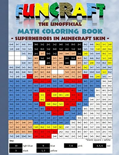 Funcraft - The unofficial Math Coloring Book: Superheroes in Minecraft Skin: Age: 6-10 years. Coloring book, age, learning math, mathematic, school, ... birthday, eastern, pixel, craft, bestseller