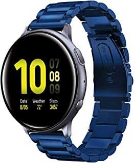 Shangpule Compatible for Galaxy Watch Active 2 40mm Bands, Active2 44mm Band, 20mm Stainless Steel Strap Compatible for Samsung Galaxy Active 2 (Blue)