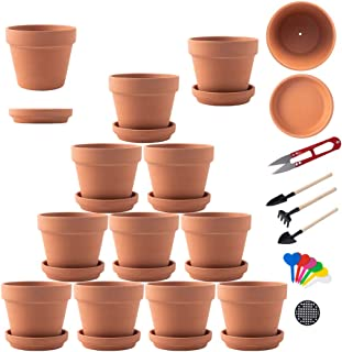Terra Cotta Pots with Saucer- 13-pack Clay Flower Pots with Saucers, 3.6-Inch Mini Flower Pots with Drainage Holes, Clay Flower Pots Small Ceramic Pottery Nursery Planters for Cacti and Succulent Plan