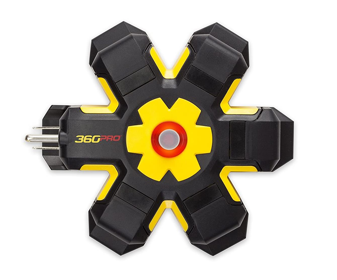 360 Electrical 36000 Pro Heavy Duty 5 Outlet Hub with Hexacore, Black/Yellow