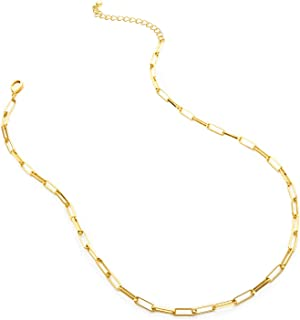 LANE WOODS Gold Paperclip Chain Necklace for Women: 14k Gold Plated Dainty Paper Clip Link Chain Necklace Girls Fashion Je...