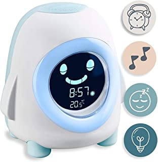Lätt väckarklocka Barnens väckarklocka med nattlampa, musik och belysning Vakna och sömnträner Sömnhjälp för pojkar och fl...