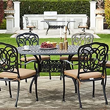 Darlee Florence 7 Piece Cast Aluminum Patio Dining Set with Round Table - Antique Bronze