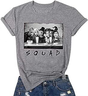 DUTUT Sanderson Sister Squad Shirt Women Halolween Squad Tshirt Vintage Horror Movie Graphic Top Tee Shirts