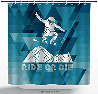 MyCCIC Multicolor Shower Curtain/Adventure,Ride Or Die Sketch Letters Abstract Fractal Backdrop with Snowboarding Man Decorative,Purple Blue White/Polyester Bathroom Decor Set with Hooks / 72 Inches