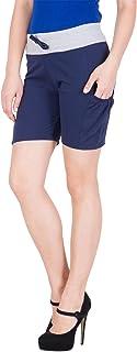 American-Elm Women's Cotton Self Design Sports Beach Gym Hot Pants Fitness Running Shorts