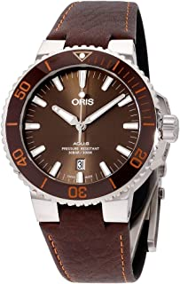 Oris Aquis Brown Dial Leather Strap Men's Watch 73377304152LSBRN