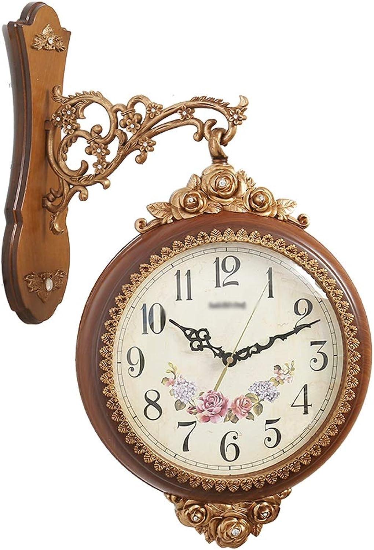 YONGMEI Wall Clock - Clock Creative Double-Sided Wall Clock Fashion Craft Clock Restaurant Living Room Electronic Clock Silent Quartz Clock (color   Brown, Size   56  37cm)