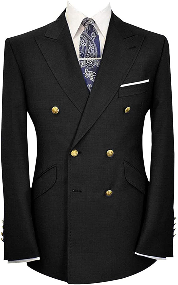 Wemaliyzd Mens Classic Fit Peak Lapel Double Breasted Suit Jacket