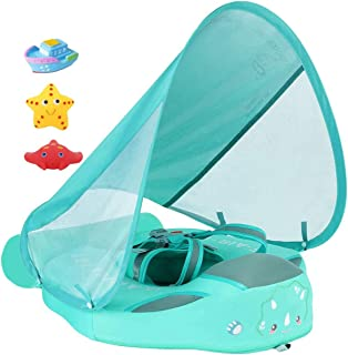 Added Tail Never Flip Over Size Improved UPF 50+ Mambobaby Non Inflatable Baby Float Swim Trainer Infant Pool Float with C...