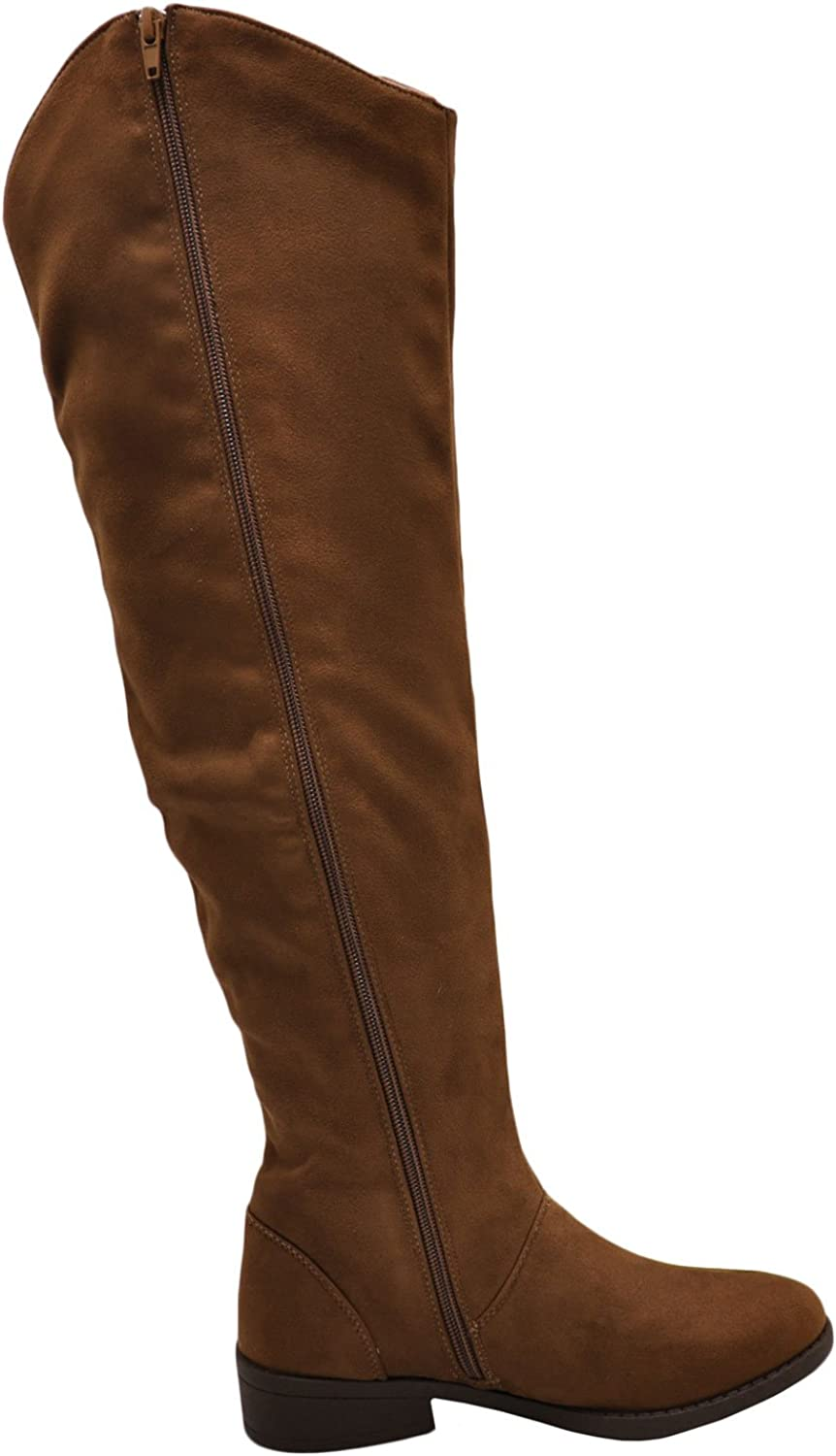 Qupid Plateau overseas 183BX Women's Casual High Knee Faux Boot Suede Deluxe