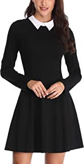FENSACE Womens Peter Pan Collar Long Sleeve Fit and Flare Skater Casual Halloween Dress