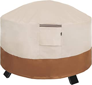 SONGMICS Fire Pit Cover, 600D Round Patio Fire Pit Table Protective Cover for Outdoor Garden, Waterproof and Anti-Fade, 36 x 24 Inches (Dia. x H) UGPC91EC