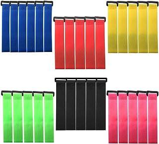 FULARR 30本 プレミアムカラフルケーブルタイセット(20cm)、再使用可能なケーブルストラップ、ワイヤーおよびケーブル管理用の多機能ワイヤーマネージャー (6 Colors: 赤、青、オレンジ、緑、黒、ピンク)