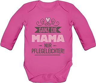 ShirtStreet Geschenk zur Geburt Strampler Bio Baby Body Bodysuit langarm Jungen Mädchen Ganz die Mama nur pflegeleichter