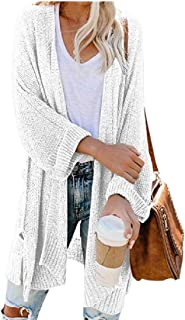 Womens Knitting Oversize Mid Long Solid Colored Tunic Top Cardigan