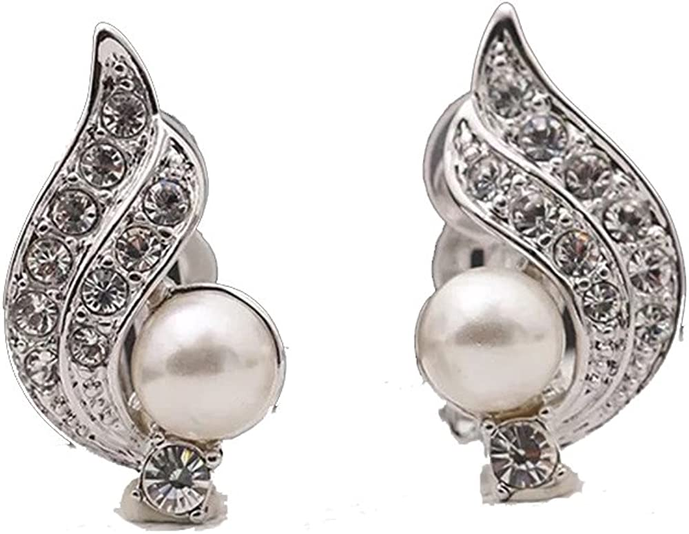 [RIZILIA Angel Wing] Clip On Earrings with Round Cut Crystal[Simulated White Pearl] in White Gold Plated