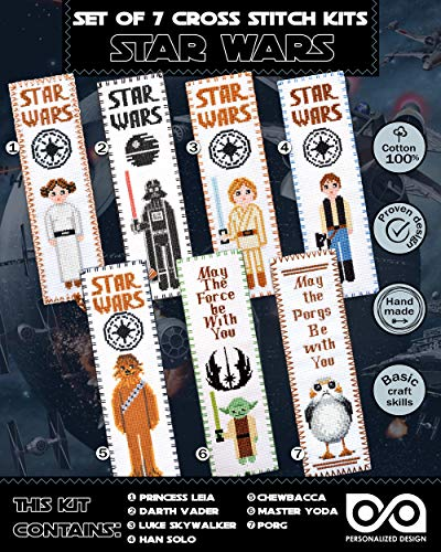 Cross Stitch Kits 'Star Wars' - Set 7-in-1 - DIY Hand Embroidery Bookmarks with Patterns