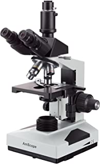 AmScope T490B Compound Trinocular Microscope, 40X-2000X Magnification, Halogen Light, Abbe Condenser, 2-Layer Mechanical Stage, High-Resolution Optics, Awarded No. 6 Among The Top 10 Microscopes 2016