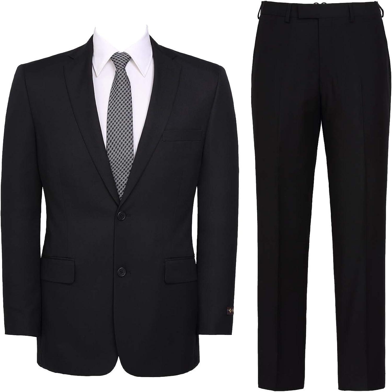 Men's 2-Piece Classic Fit Suit Solid Color Single Breasted 2 Buttons Jacket Dress Pants Black