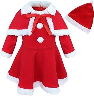 9680d786001db YiZYiF Bébé Fille Robe de Noël Rouge Robe à Manche Longue et Cape et Bonnet  Noël