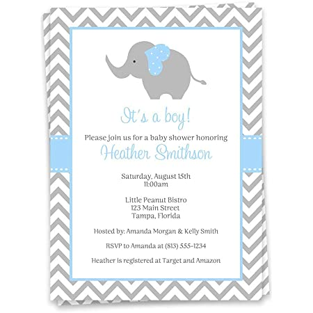 A little Peanut is on the way Invitations Printed Baby Boy Elephant Invitations Boy Elephant Invites