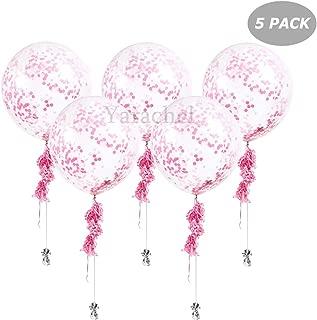 Yarachel 5PCS 36'' Pink Transparent Circular Jumbo Latex Paper Balloon - Perfect for Any Birthday Party or Celebration (Pink)