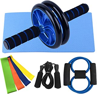 5-in-1 Ab-Roller Wheel Kit with Resistance Band Jump Rope Resistance Loop and Knee Pad for Gym Home Workout