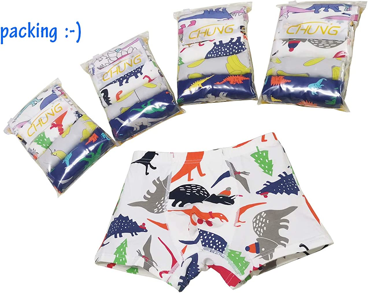 CHUNG Toddler Little Big Boys Underwear Pack of 5//10 Cotton Breathable Boxer Briefs Dinosaur 3-9Y