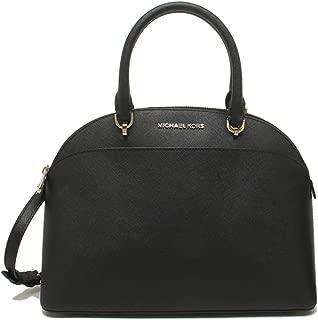 Michael Kors Emmy Large Saffiano Leather Dome Satchel 35H7GY3S3L Black