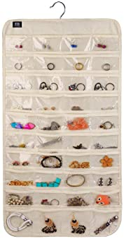 BB Brotrade HJO80 Hanging Jewelry Organizer,80 Pocket Organizer for Holding Jewelries(Beige)