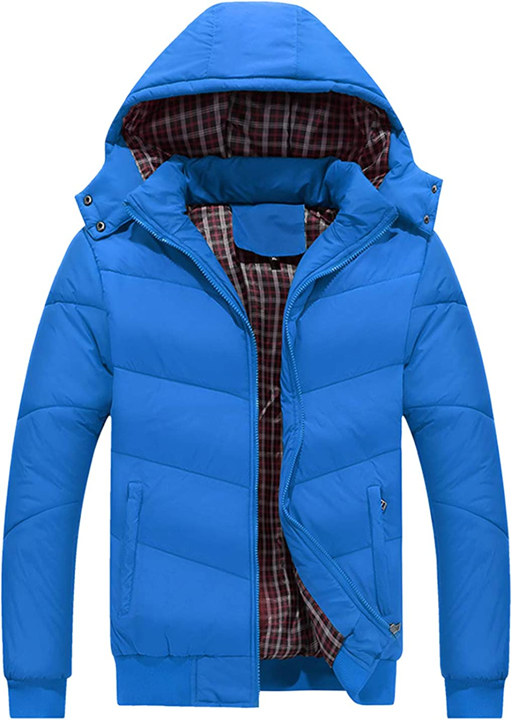 HaoMay Men's Winter Quilted Jacket Removable Hooded Cotton-Padded Coat
