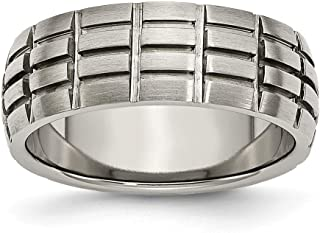 Chisel Titanium Engravable Notched and Grooved 8mm Satin Band Ring - Ring Size Options: 10 10.5 11 11.5 12 12.5 13 7 7.5 8 8.5 9 9.5
