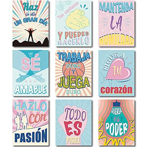 9 Piezas Decoraciones de Aula de Español Cartel Motivacional Español para Escuela Carteles Inspiradores Arte de Pared Inspirador Decoración de Pared con Cita Motivacional