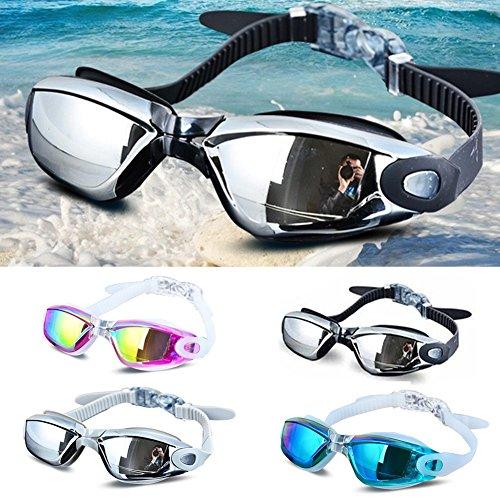 Zwembril met verstelbare siliconen bandjes - Duikbril - Anti Fog, UV-bescherming, Waterdicht - voor volwassenen en kinderen free size Zwart