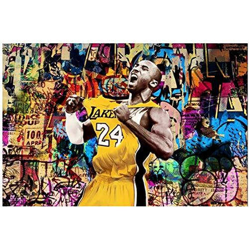 Street Graffiti Art Gran jugador de baloncesto Póster Pintura en lienzo Posters Impresión de arte de pared para sala de estar Decoración del hogar Múltiples opciones Marco y sin marco