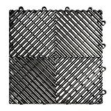RaceDeck Free-Flow Open Rib Design, Durable Interlocking Modular Garage Flooring Tile (24 Pack), Black