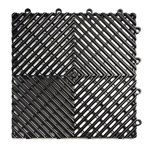 RaceDeck Free-Flow Open Rib Design, Durable Interlocking Modular Garage Flooring Tile (48 Pack), Black