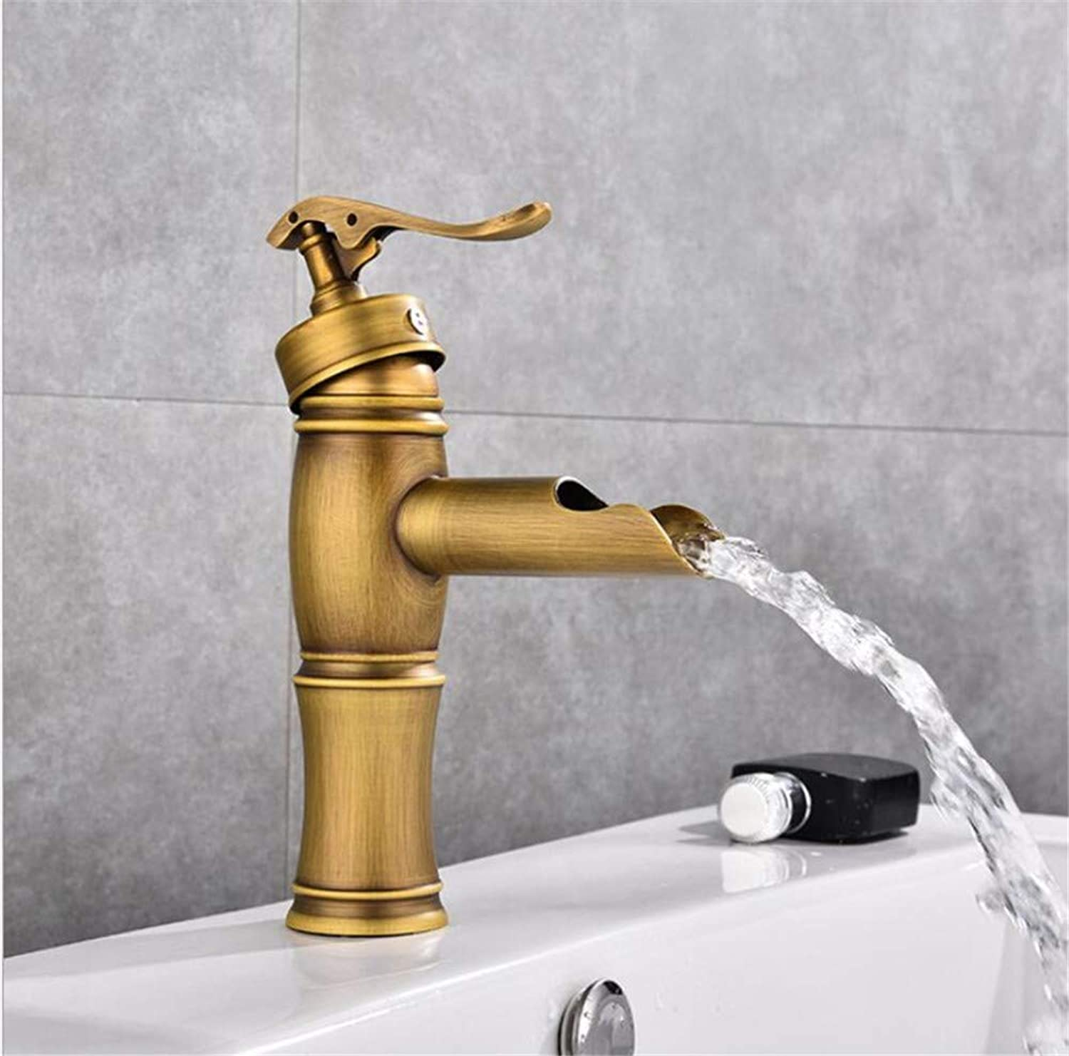 Bathroom Sink Basin Lever Mixer Tap Copper Retro Cold Hot Basin Faucet Waterfall Faucet