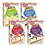 Dr. Oetker Cheesecake American Style im 4er Probierset - American Cheesecake, Chocolate, Lemon Cheesecake, Strawberry Cheesecake, Blueberry Cheesecake - Kuchenmischung ohne Backen